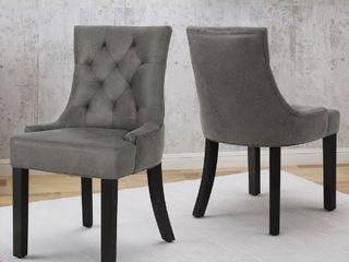 Hayden Contemporary Tufted Microfiber Dining Chairs  Set of 2  Slate by Christopher Knight Home  Retail 429 99