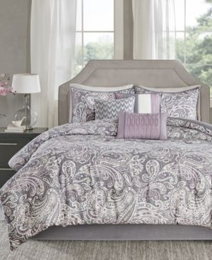Purple Celena Printed Comforter Set  California King  7pc