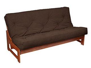Full Size 6 inch Dark Brown Suede Futon Mattress  Frame not included  Retail 179 99