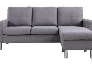 Small Space linen Fabric Sectional Sofa with Reversible Chaise  light Grey   Retail 399 99  MISSING HARDWARE