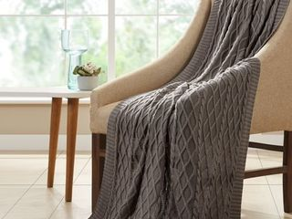 Modern Threads 100 percent Cotton Oversized Cable Knit 50 x70  Throw Blanket  Grey