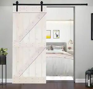 Paneled Wood Barn Door  White with Installation Hardware Kit   K4 Series  Door Assembly Required  Retail 424 49