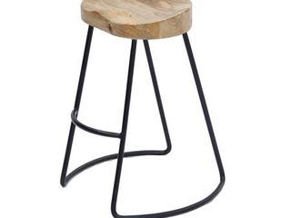 Wooden Saddle Seat Barstool with Metal legs  Brown and Black  SET OF 2