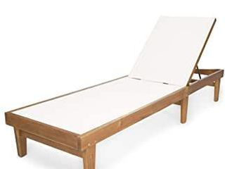 Summerland Outdoor Mesh and Wood Chaise  One Chair  by Christopher Knight Home  Teak Finish White