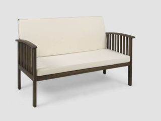 Carolina Outdoor Acacia Wood loveseat by Christopher Knight Home  Gray Finish Cream Cushion  Retail 203 99
