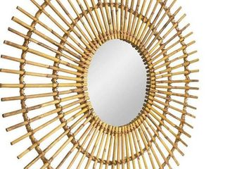 American Art Decor 40  Handmade Boho Rattan Sunburst Wall Mirror  Retail 169 49