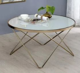 Acme Furniture Valora Gold Tone Frosted Glass Metal Coffee End Table  Retail 88 92