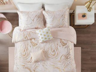 Twin Twin Xl 4pc Vanessa Metallic Printed Duvet Cover Set Blush Gold