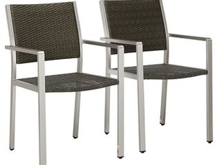 Outdoor Wicker and Aluminum Dining Chairs  Brown  Set of 2