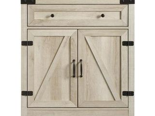 Walker Edison Furniture 30 in  Farmhouse Barn Door Accent Cabinet  White Oak