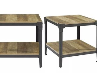 Angle Iron Rustic Wood End Table  Driftwood  2 PCS