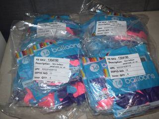 24 Bags of 14 latex Balloons   12  Pink  Purple and Blue