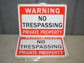 18 Metal Reflective No Trespassing Signs 7  x 10