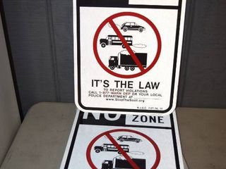 11 No Idle Zone Metal Signs Relfective 12  x 18