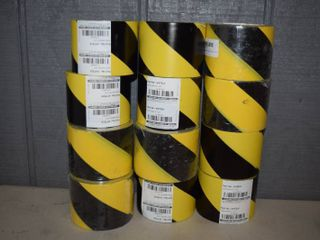 12 Rolls Black Yellow Hazard Tape 3  x 54