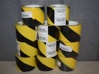 11 Rolls Black Yellow Hazard Tape 3  x 54