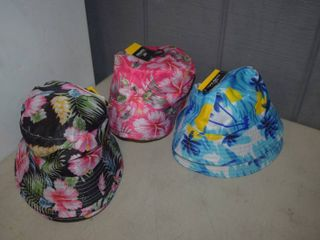 8 Bucket Hats   OSFM   4 black  2 Pink and 2 Blue