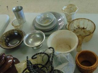 China items   plates and bowls   strainer