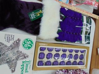 Christmas purple   ornaments   bows  tree topper   stocking