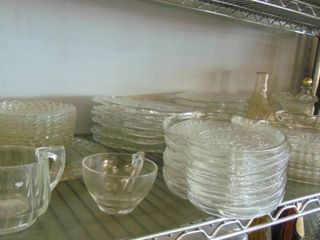 big lot of glass plates   candy dishes   more