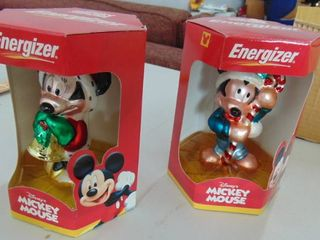 2 Mickey Mouse glass ornaments
