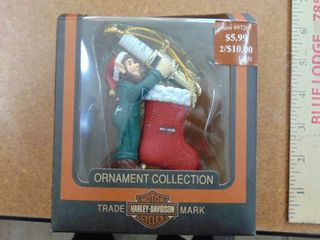 Harley Davidson motorcycle ornament   elf and stocking