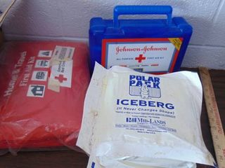 2 first aid kits   ice packs