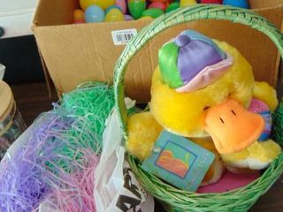 Easter lot   plush duck   tons of plastic eggs
