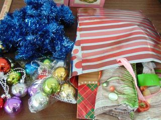 Christmas ornaments   tinsel   gift bags