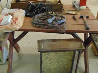 wood   dryer cord   everything on table   table not included