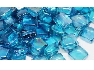 25mm light Blue Fireglass Cubes  10lb box
