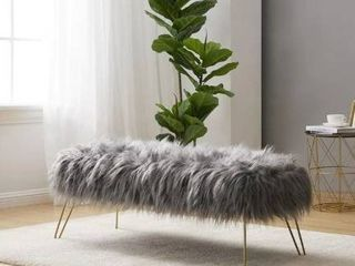 Silver Orchid Nilsson Contemporary Faux Fur long Bench Ottoman  Retail 122 49