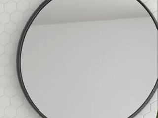 24  Kende Round Mirror Black   Diameter 24 In   Metal Rounded Wall Mirror
