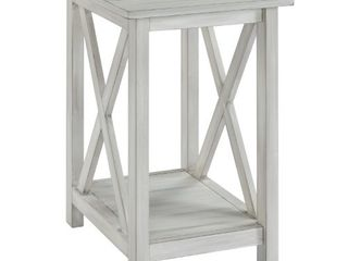 Jamestown Distressed White Wood Side Table  Retail 109 99