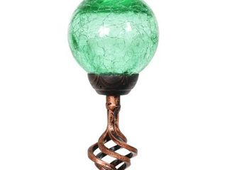 Exhart Solar Crackle Glass Ball Garden Stake with Metal Finial Detail  4 by 31 Inches