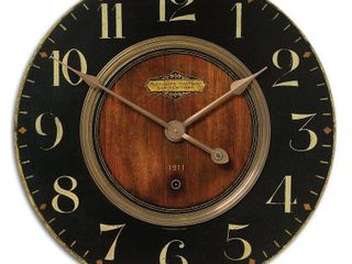 Uttermost 06026 Brass Alexandre 23  Wide Analog Wall Clock