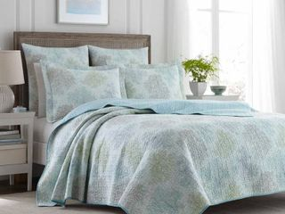 laura Ashley Saltwater Blue Reversible 3 piece Cotton Quilt Set  Retail 86 33