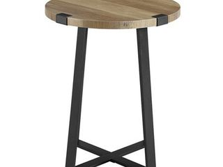 18  Metal Wrap Round Side Table   Reclaimed Barnwood