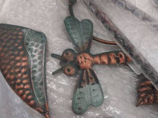 Transpac Metal 62 in  Bronze Spring Kinetic Patina Bird and Dragonfly Yard Stake