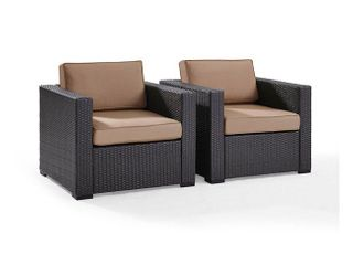 Biscayne Mocha Wicker Outdoor Seating Chairs  Set of 2  Retail 527 49