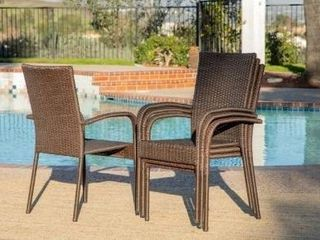 Rhonn 4 piece Brown and Grey Wicker Outdoor Dining Chairs by Havenside Home  Retail 517 49