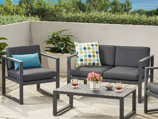 Navan outdoor aluminum 4 seater sofa set  Dark grey   not Inspected