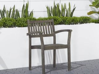 Renaissance Outdoor Patio Hand Scraped Wood Stacking Armchair  Set of 2