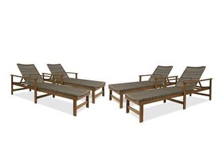 Hampton Outdoor Rustic Acacia Wood Chaise lounge with Wicker Seating by Christopher Knight Home