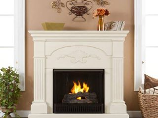 Southern Enterprises Chamberlain Electric Fireplace  Ivory
