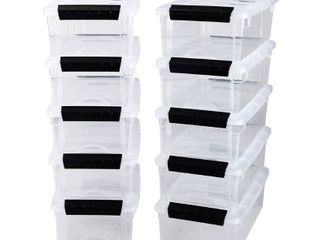 IRIS 5 Quart Stack   Pull Box  10 Pack  Clear   5 qt