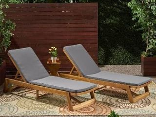 1 set Nadine Outdoor Fabric Chaise lounge Cushion  Set of 2  by Christopher Knight Home   Retail 166 99