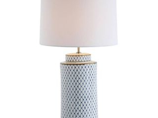 Indigo   White Ceramic Table lamp with linen Shade  Retail 143 49