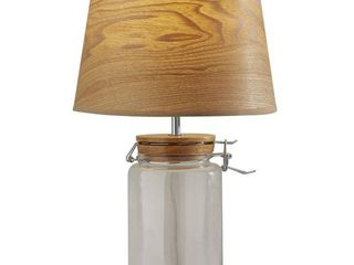 Adessoi1 2 Simplee Mason Jar Table lamp  15 1 2 H  Natural Shade Clear Base