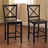 TMS Virginia Cross Back 24  Counter Stools Black  Set of 2